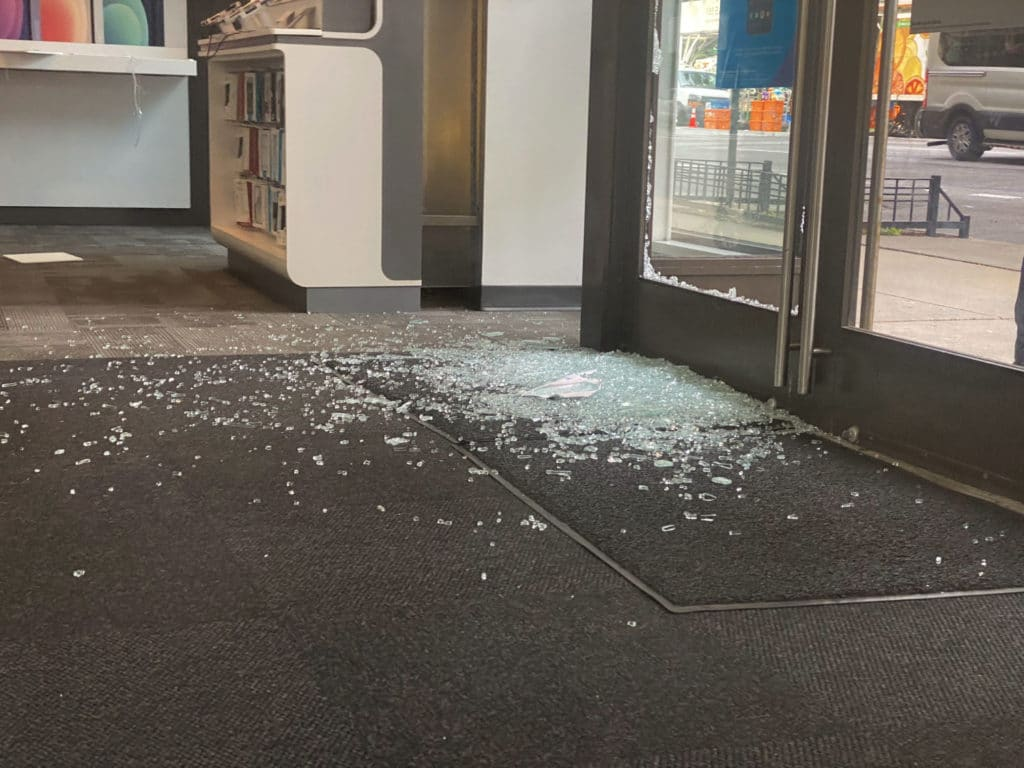 Broken glass inside the East 86th Street and Third Avenue AT&T store after burglary/Upper East Site