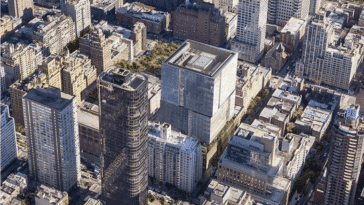 Rendering of New York Blood Center's proposed tower/ Ennead Architects via NYC Planning